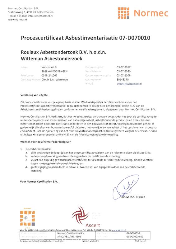 procescertifcaat asbestinventarisatie_KL