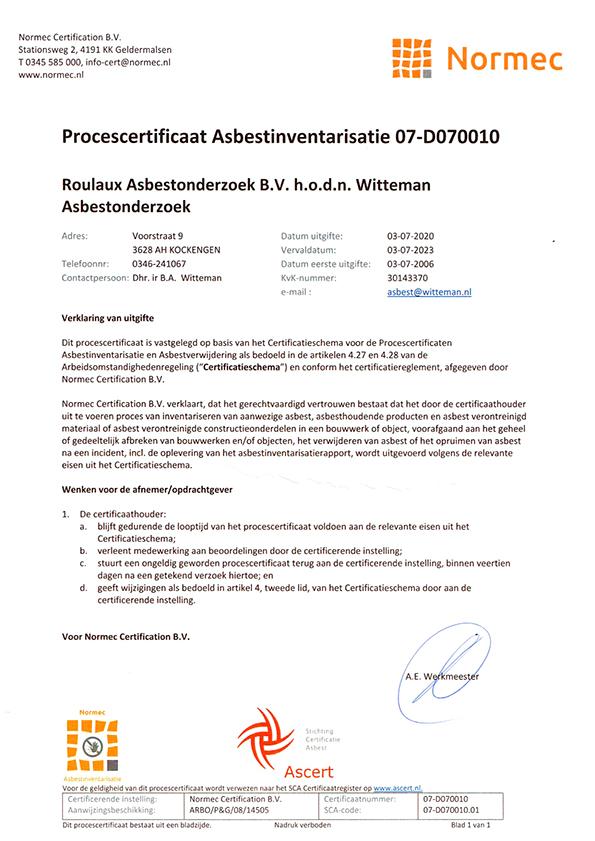 procescertificaat-Asbestinventarisatie2020